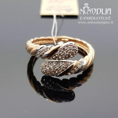 Žiedas puoštas baltu auksu ir cirkoniu