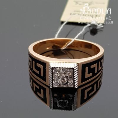 Vyriškas žiedas puoštas baltu auksu ir cirkoniu