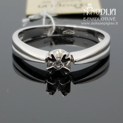 Balto aukso žiedas su cirkoniu