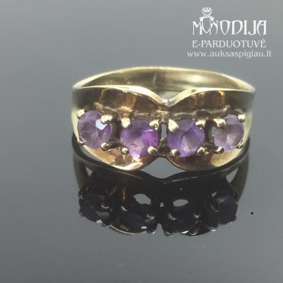 Geltono aukso žiedas su ametistais