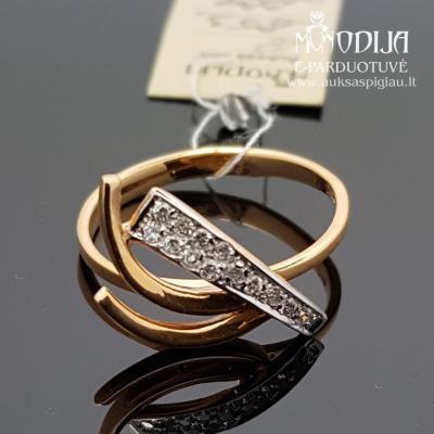 Žiedas puoštas cirkoniu ir baltu auksu