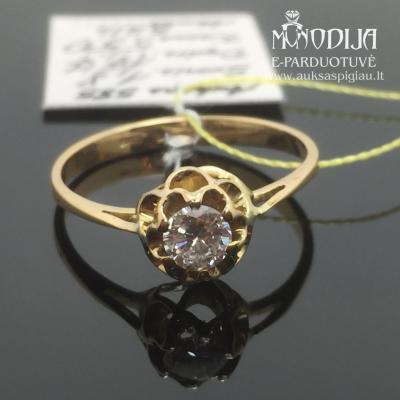 Geltono aukso žiedas su brilliantu