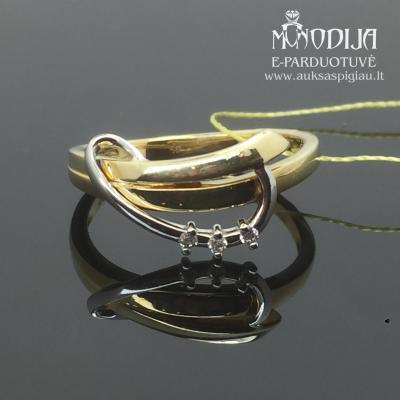 Balto ir geltono aukso žiedas su briliantais