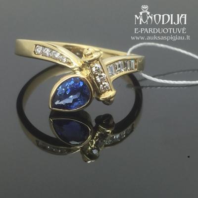 750 prabos auksinis žiedas su deimantais ir safyru