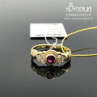Geltono aukso žiedas su briliantais ir rubinu