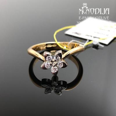 750 prabos aukso žiedas su briliantais