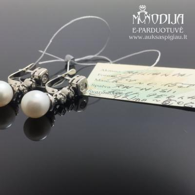 750 prabos auskarai su briliantais ir perlais