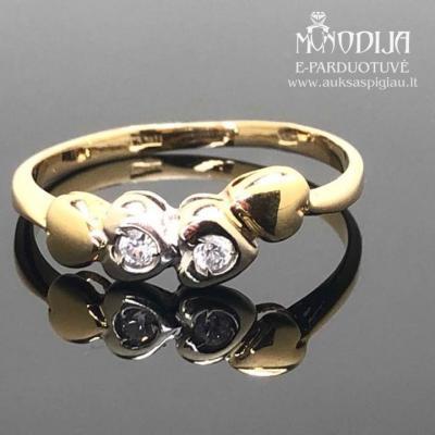 Geltono aukso žiedas su cirkoniais