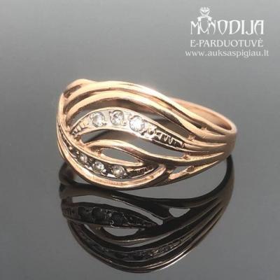 Raudono aukso žiedas su cirkoniais