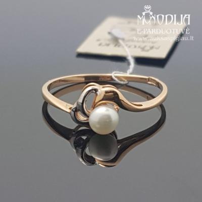Auksinis žiedas puoštas baltu auksu ir perlu
