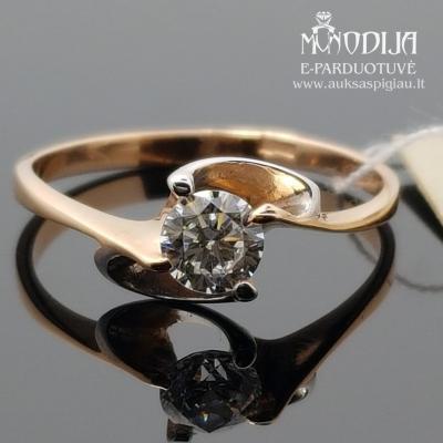 Auksinis žiedas puoštas baltu auksu ir cirkonio akimi