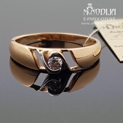 Auksinis žiedas puoštas baltu auksu ir cirkinio akimi