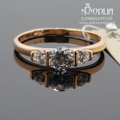 Auksinis žiedas puoštas cirkonio akimi