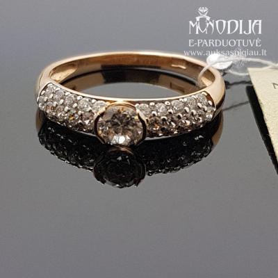 Auksinis žiedas puoštas cirkonio akimis