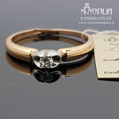 Aukso žiedas puoštas baltu auksu ir cirkoniu