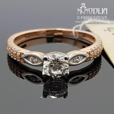 Aukso žiedas puoštas baltu auksu ir cirkonio akimi