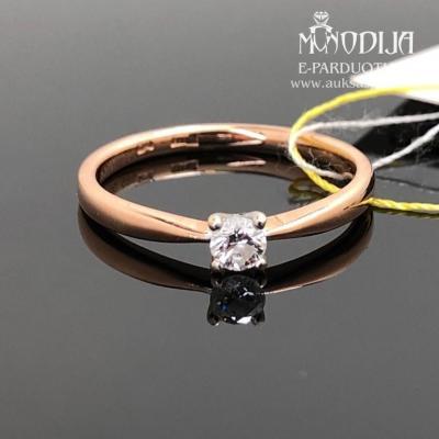 Raudono aukso žiedas su briliantu