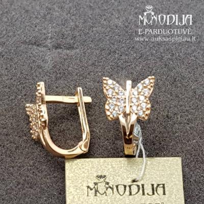 Auksiniai auskarai drugeliai