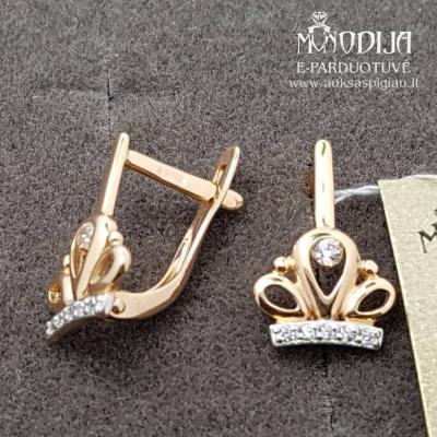 Auksiniai auskarai karūna