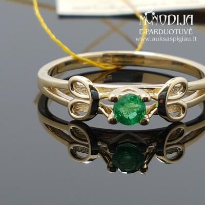 Geltono aukso žiedas su smaragdu