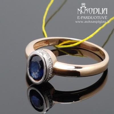 Raudono aukso žiedas su briliantais ir safyrais
