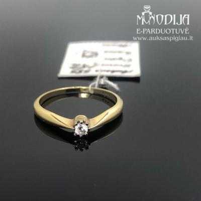 Geltono aukso žiedas su cirkoniu