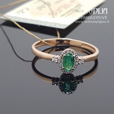 Raudono aukso žiedas su briliantais ir smaragdais