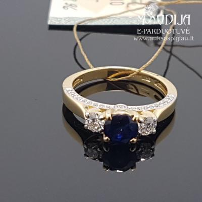 Geltono aukso žiedas su briliantais ir safyrais