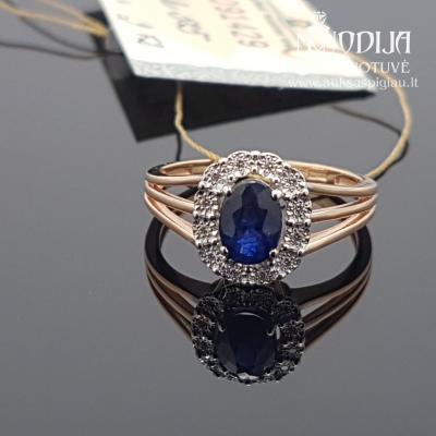 Raudono aukso žiedas su briliantais ir safyru