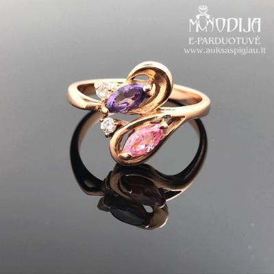 Žiedas su spalvotom akutėm