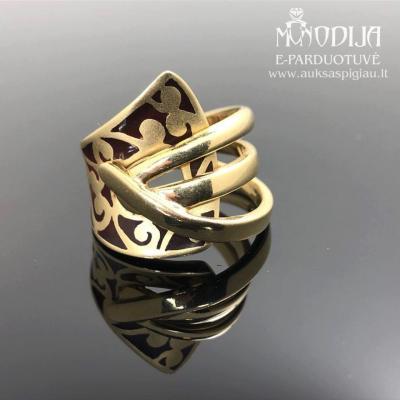 Geltono aukso žiedas su emale