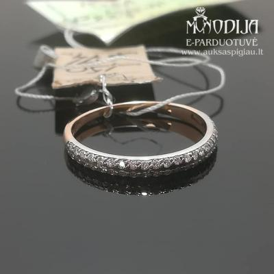 Balto ir raudono aukso žiedas su briliantais