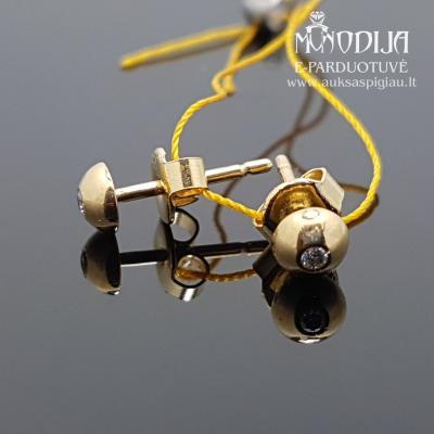 Geltono aukso auskarai su briliantais