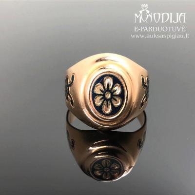 Vintažinis žiedas su juodintu auksu