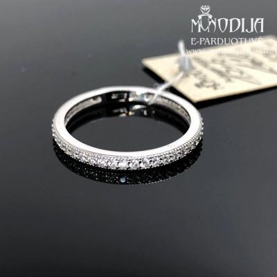 Balto aukso žiedas su cirkoniais