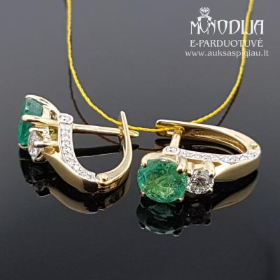 Geltono aukso auskarai su briliantais ir smaragdais