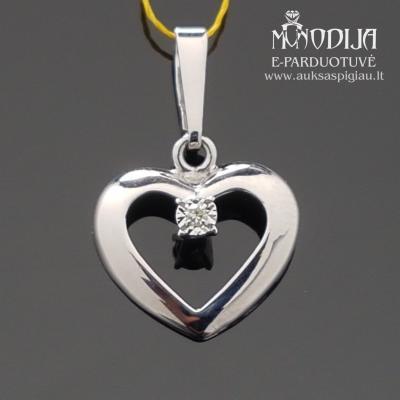 Balto aukso širdelė su deimantu