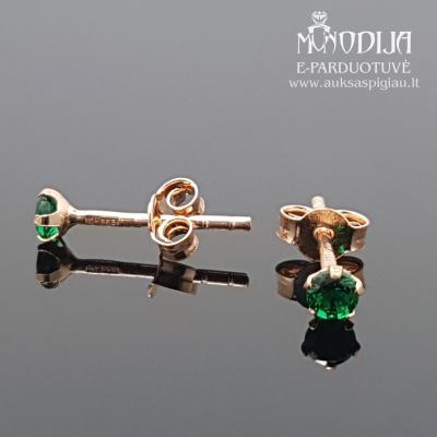 Auksiniai auskarai su žaliomis akutėmis