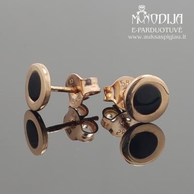 Auksiniai auskarai su juodomis akutėmis