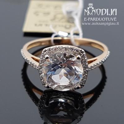 Raudono aukso žiedas su deimantais