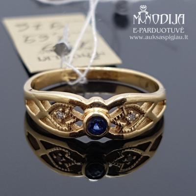 Geltono aukso žiedas su briliantais ir safyru