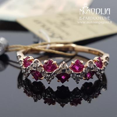 Raudono aukso žiedas su deimantais ir rubinais
