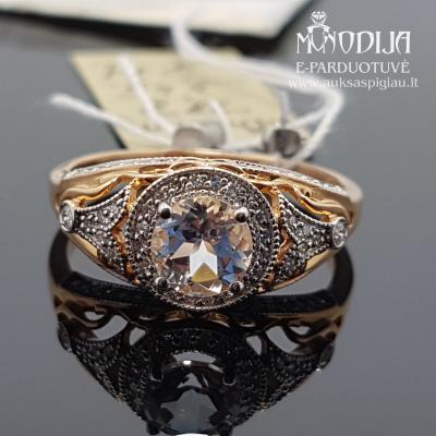 Raudono aukso žiedas su briliantais ir deimantais
