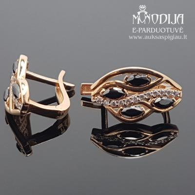 Auksiniai auskarai su akmenukais