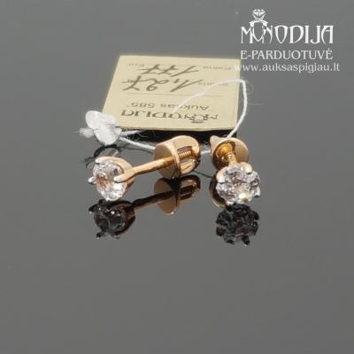 Auksiniai auskarai su akmenuku