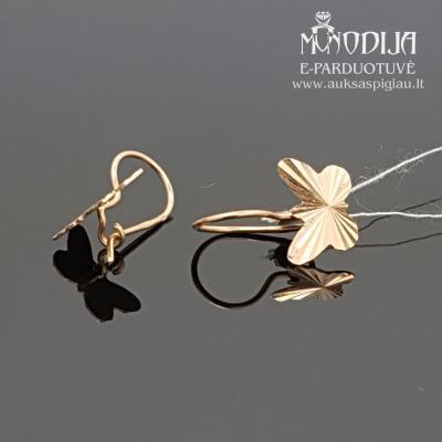 Auksiniai auskarai - drugeliai