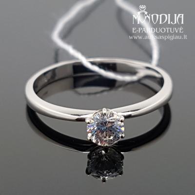Balto aukso žiedas su akmenukais