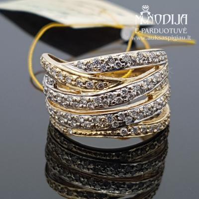Geltono aukso žiedas su briliantais