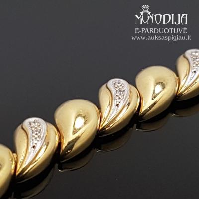 Geltono aukso apyrankė su briliantais