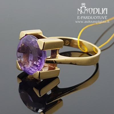 Geltono aukso žiedas su ametistu